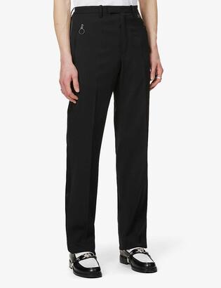 Off-White Satin-trim straight-leg stretch-twill trousers