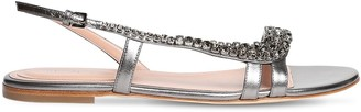 Alberta Ferretti 10mm Embellished Metallic Leather Sandal