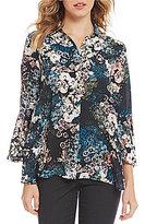 Jones New York Floral Print Georgette Bell Sleeve Top