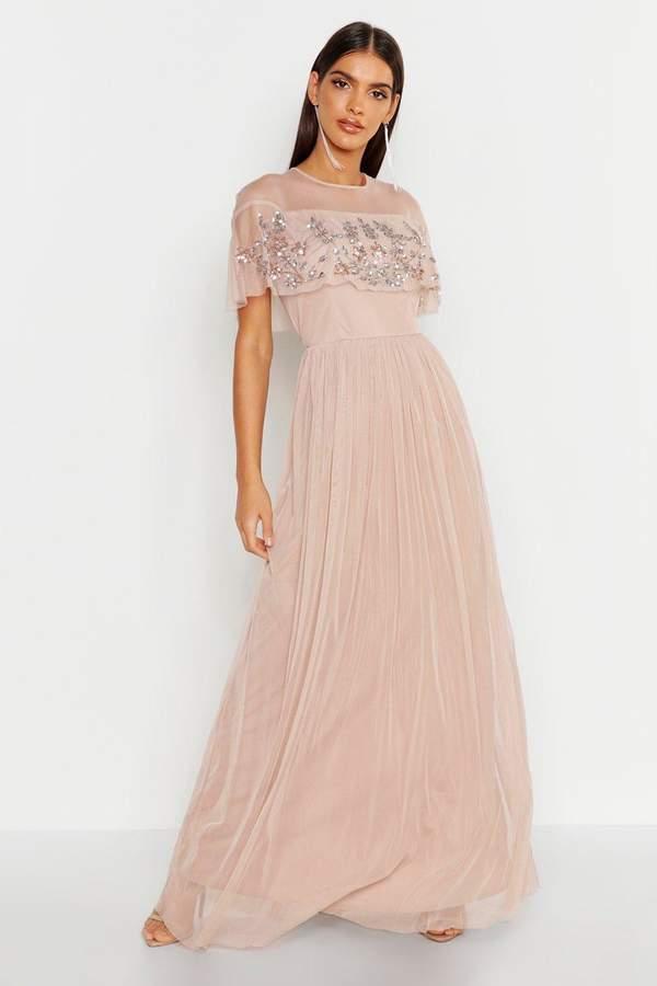 boohoo Embellished Cape Skater Maxi Dress