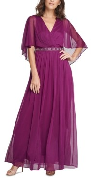 Jessica Howard Beaded Faux-Cape Gown