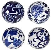 A&B Home Set of 4 Decorative Ceramic Balls - Blue