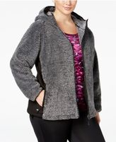 Ideology Plus Size Fuzzy Hooded Jacket, Only at Macy's