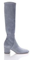 Valentino Knee-High Stretch-Suede Boots in Grey