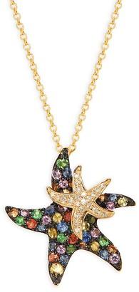Effy 14K Yellow Gold, Black Rhodium-Plated, Sapphire & Diamond Double Starfish Pendant Necklace