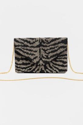 francesca's Lailah Tiger Stripe Beaded Clutch - Black
