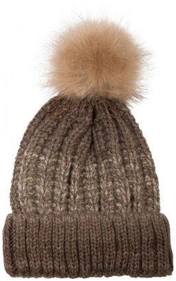 styleBREAKER Bobble hat with fine Knit Plait Pattern and Faux Fur Bobble Winter Knitted hat Unisex 04024060
