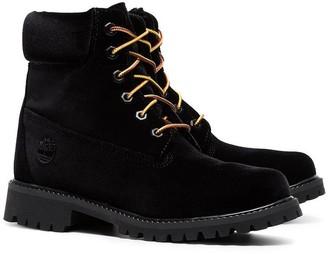 Off-White X Timberland Velvet Boots Black