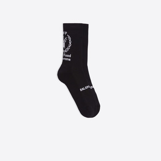 Balenciaga Socks in black and white WFP printed cotton
