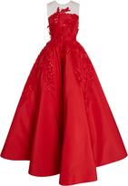 Oscar de la Renta Illusion Sequin Embroidered Gown