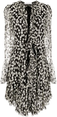 Philosophy di Lorenzo Serafini Floral Embroidered Ruffle-Trim Dress