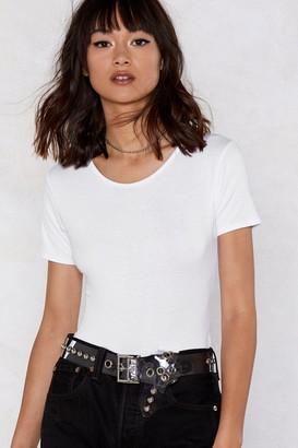 Nasty Gal Womens Ease Up Tee Bodysuit - White - 4, White