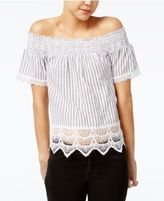 Almost Famous Crave Fame Juniors' Printed Lace-Trim Off-The-Shoulder Top