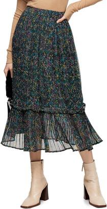 Topshop Garden Flora Print Chiffon Midi Skirt