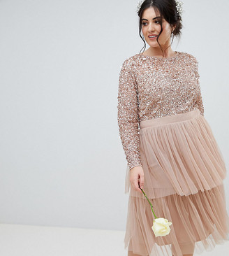 Maya Bridesmaid Long Sleeve Sequin Top Midi Dress With Tiered Tulle Skirt