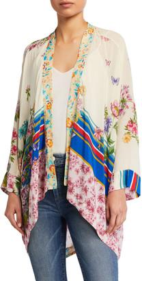 Johnny Was Shae Floral-Print Silk Kimono