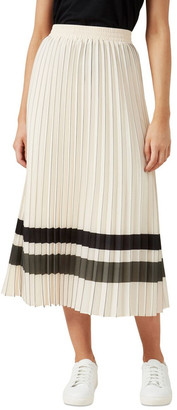 French Connection Stripe Pleated Midi Skirt