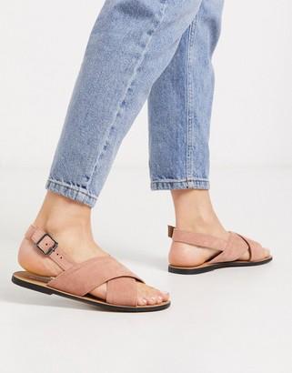 Glamorous cross strap flat sandal in blush pink