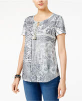 Style&Co. Style & Co Petite Printed Peasant Top, Created for Macy's