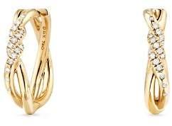 David Yurman Continuance Knot Hoop Earrings with Diamonds in 18K Gold