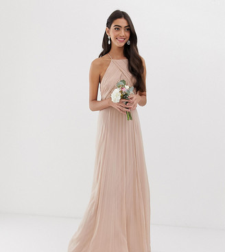 Asos Tall DESIGN Tall Bridesmaid pinny maxi dress with ruched bodice-Pink