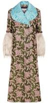 Gucci Fur-trimmed jacquard coat