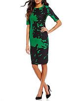 Anne Klein Round Neck Short Sleeve Printed Scuba Sheath Dress