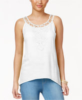 Thalia Sodi Crochet-Applique Handkerchief-Hem Tank Top, Only at Macy's