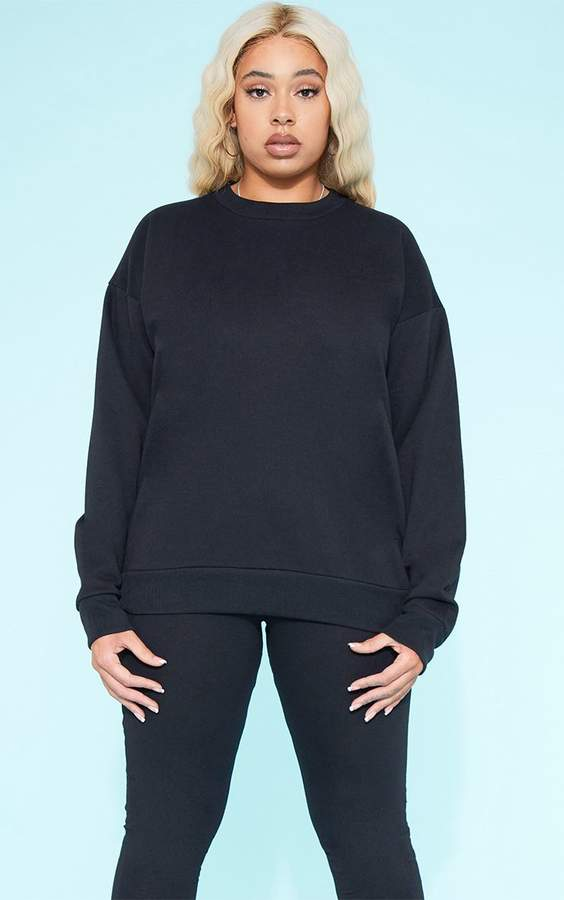 PrettyLittleThing RECYCLED Plus Black Crew Neck Sweater