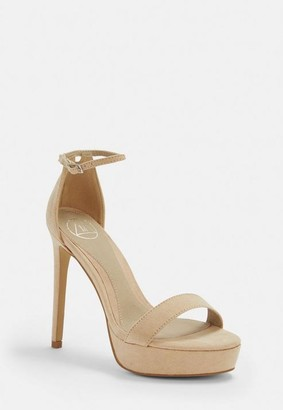 Missguided Nude Faux Suede Simple Strap Platform Heeled Sandals