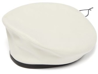 Marni Leather-trimmed Cotton-moleskin Beret - Mens - White