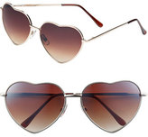 BP Junior Women's Heart Shaped 58Mm Sunglasses - Gold/ Brown