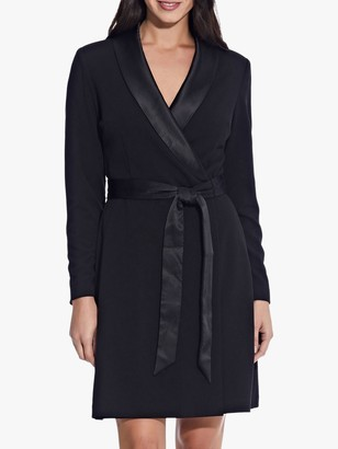 Adrianna Papell Knit Crepe Collared A-Line Dress, Black