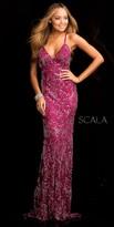 Scala Open Back Embellished Evening Dress