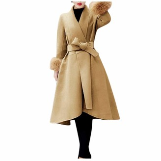 LOPILY Ladies Woolen Coats Women's Fluffy Tail Long Sleeve Pea Coat Long Belt Solid Color Trench Coats Elegant Flared Windbreaker JumperYellowM