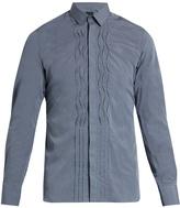 Lanvin Pleated-front slim-fit cotton-poplin shirt
