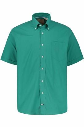 JP 1880 Men's Big & Tall Short Sleeve Plaid Shirt Green Melange Large 714120 41-L