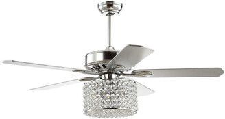 Jonathan Y Designs Brandy 52In 3-Light Crystal Prism Drum Led Ceiling Fan With Remote