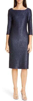 St. John Glimmering Sequin Knit Cocktail Dress