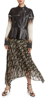 Altuzarra Sweater-Sleeve Leather Peplum-Waist Moto Jacket
