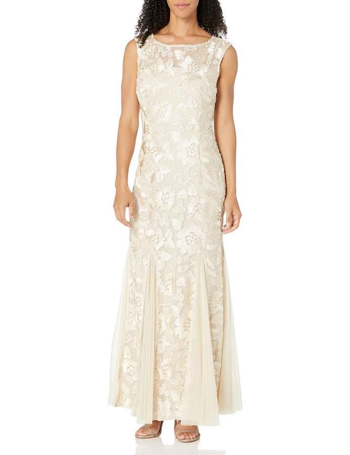 Alex Evenings Women's Long Cap Sleeve Embroidered Dress