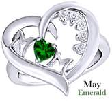 AFFY Simulated Green Emerald & White Natural Diamond Mom Heart Promise Ring 925 Sterling Silver