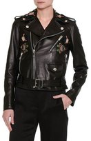 Valentino Pop-Flower Embroidered Leather Moto Jacket