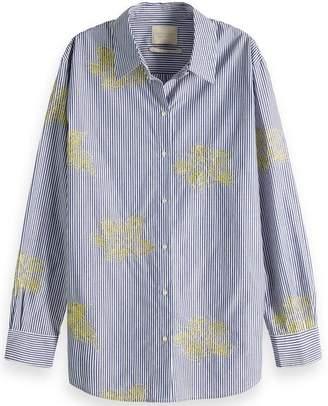 Scotch & Soda Blue Embroidered Shirt - Small - Blue/White/Yellow