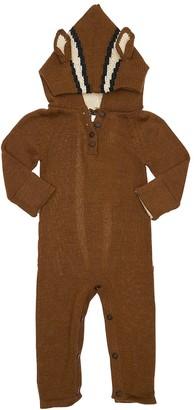Oeuf Chipmunk Hooded Baby Alpaca Knit Romper