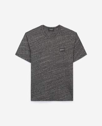 The Kooples Grey T-shirt in cotton & wool, leather detail