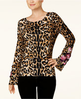 INC International Concepts Embroidered Leopard-Print Sweater, Created for Macy's