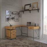 Kathy Ireland Home By Bush Furniture Ironworks L-Shape Desk Home by Bush Furniture Color: Vintage Golden Pine