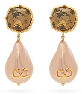 Valentino V-logo Faux-pearl & Crystal Drop Earrings - Pearl