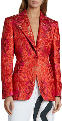 Dries Van Noten Flower Brocade Blazer, Red